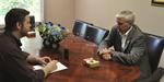 (photo by Steve Kelly -- U.S. Rep. Steve Womack sits down with News Director Luke Treat in Harrison Tuesday morning. )