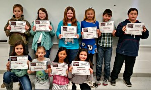4th Grade Front Row: Anna Reyes, Kaylee Nicholls, Lanya Lebow, Zoey McMurtry Back Row: Michael Zeigler, Madeline Peck, Anna Lee Childers, Landen Solis, Spencer Michaud