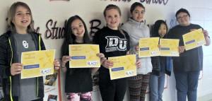 5th grade: Preston Blubaugh, Emma Elliott, Kennedy Brown, Sophia Brown, Anna Lin Caravella, and Harmony Andrews