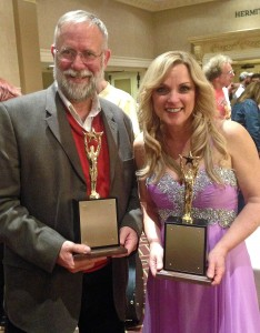 D.A. Callaway and Rhona Vincent at the National Bluegrass Awards in Nashville on Feb. 7, 2016.