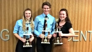 Photo from left to right: Blair Barnett, Ethan Greiner and Sarah Bishop.