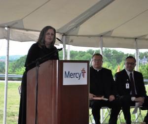 Branson Mayor Karen Best speaks at the Mercy Branson Clinic ground breaking ceremony Monday, May 2, 2016. (photo by Sam Clanton)