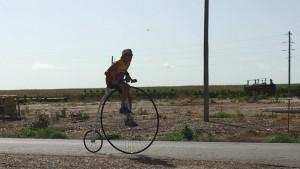 Rick Stumpff back on the road on his new High Wheel bike