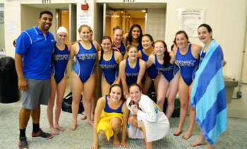 Members of the YMCA of Greenwich girls water polo team pose for a team photo during the Northeast Zone qualifier. (photo courtesy of YMCA of Greenwich)