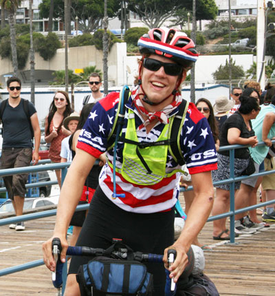 Greenwich resident and Brunswick School senior Henry Harris poses for a photo after riding his bicycle across the country and reaching the Santa Monica Pier back on Aug. 6.