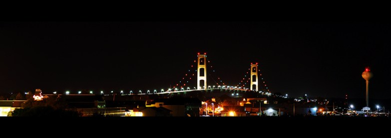 Afterdark Mackinac Bridge Panorama