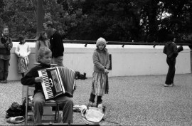 Art prize also attracted a lot of random street performers. Here is a very talented and young street performer.