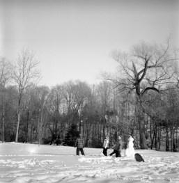 People were building a snowman.