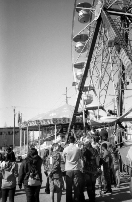 The ferris wheel is still a popular ride.