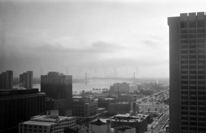 Detroit River, I quite like the smoke stacks behind the bridge. We're still making stuff.