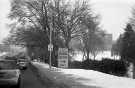 Ann Arbor, by the Big House. I was trying to capture the gigantic M on the side of the stadium but the snow obstructed it.