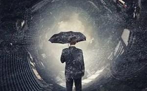 Businessman with umbrella in chaos, Banking Seminar