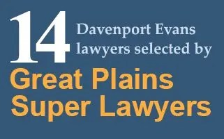 14 Davenport Evans Lawyers Selected by Super Lawyers 2018