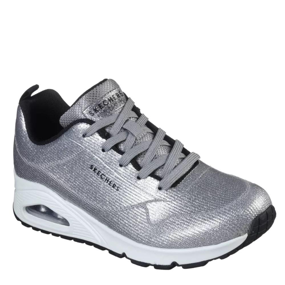 silver skechers womens uno diamond shatter sneaker