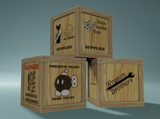 Three wooden crates