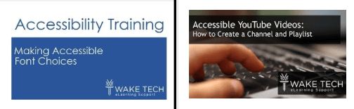 thumbnails for accessibility training at Wake Tech and Caption training