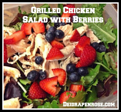 Deidra Penrose, kid friendly lunch and dinner recipes, kid friendly meals,clean eating, accountability, fitness motivation,  chicken salad with berries, chicken and fruit salad recipe, red white and blue salad, red white and blue fruit, clean eating recipes, easy healthy recipes, 4th of july recipes, patriotic easy recipes, easy cookout recipes, 4th of july ideas, holiday cooking ideas, holiday food