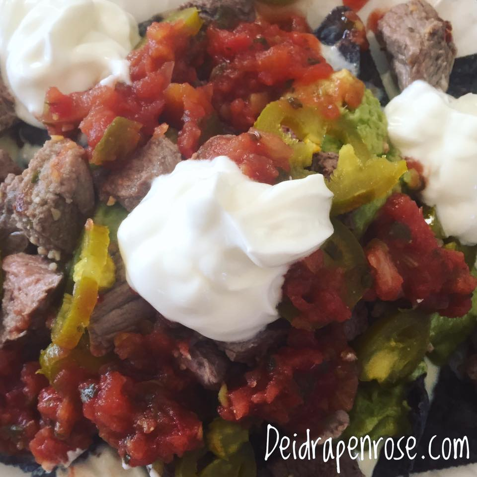 Deidra Penrose, healthy nacho recipe, fresh salsa, guacamole, greek yogurt, sour cream replacement, steak recipes, healthy dinner recipes, top beachbody coach PA,successful online fitness coach, clean eating tips, healthy mom ideas,