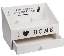 Bada Bing Büro Schreibtisch Organizer I Love my Home weiß Holz Ablage Sortierbox -