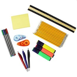 COM-FOUR® Bürostarterset 26-teilig verschiedene Utensilien für den Büro-Alltag, enthalten sind Bleistifte, Kugelschreiber, Fineliner, Textmarker, Notizzettel, Lineal & Korrekturroller -