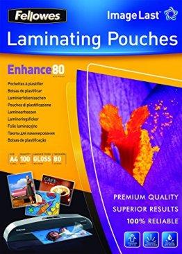 Fellowes ImageLast Laminierfolien (80 Mikron, DIN A4, 100 Stück ) transparent -