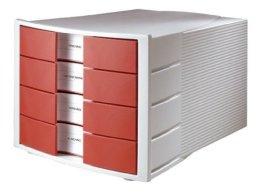 HAN 1010-X-17, Schubladenbox IMPULS, Innovatives, attraktives Design in höchster Qualität. Mit großem Beschriftungsfeld und 4 geschlossenen Schubladen, lichtgrau/ rot -