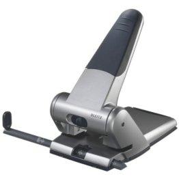 Leitz 51800084 Registraturlocher bis A3, 6,5 mm, mit Anschlagschiene, silber -