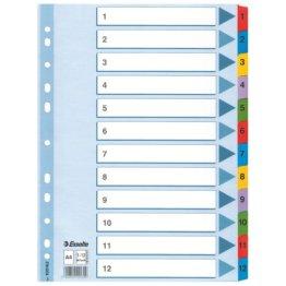 Leitz Kartonregister 1-12, A4, Karton, 12 Blatt, weiss -