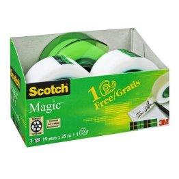 Scotch AAMT-3 Klebeband Magic 810 Promotion, 3 Rollen Klebefilm 19 mm x 25 m + Handabroller gratis -