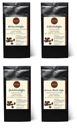 4 x Kaffee mit Geschmack zu Weihnachen als Geschenkset - Weihnachtskaffee, Spekulatius Kaffee, Lebkuchen Kaffee, Gebrannte Mandeln Kaffee - 100% Arabica Röstkaffee mit Aroma - gemahlen - 4 x 75 g (300 g insgesamt) -