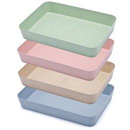 Ailina Creative Schublade Organizer Lagerkästen Set Best Aufbewahrung Lösung für Küche/Bad/Büro, umweltfreundliche Material aus Weizen -