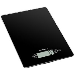 Amir Digitale Küchenwaage, Digitalwaage , Professionelle Waage, Briefwaage 5kg High Precision Touch-Sensitive, Ausgeglichenes Glas, Schwarz -
