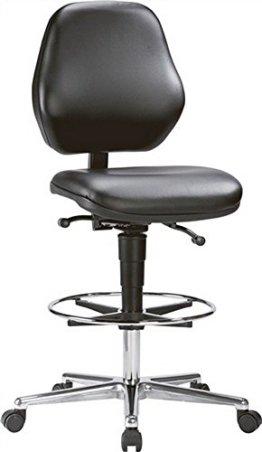 Arbeitsdrehstuhl Basic mit Rollen und Fußring Kunstleder H.650-910mm -
