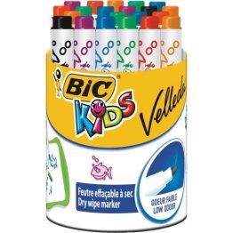 BIC KiDS Mini VELLEDA Whiteboard-Marker (trocken abwischbar) Trommel mit 24 Stück -