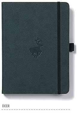 Dingbats* Wildlife A5+ Notizbuch - PU-Leder, Mikroperforiert 100gsm Creme Seiten, Innentasche, Elastisch, Stifthalter, Lesezeichen (Kariert, Grüne Hirsche) -
