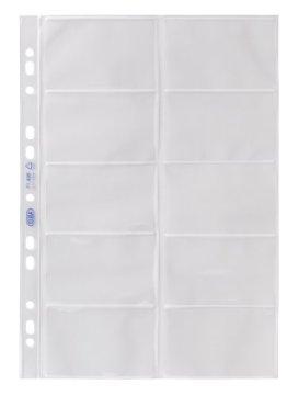 Elba 100460994 Visitenkarten-Prospekthüllen, A4 (links offen, für 20 Visitenkarten, dokumentenecht) 10 Stück, aus PP 0,09 mm, glasklar -