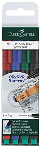 Faber-Castell 1513 04 - Marker MULTIMARK permanent, Stärke: F, 4er Etui, Inhalt: je 1x rot, blau, grün, schwarz -
