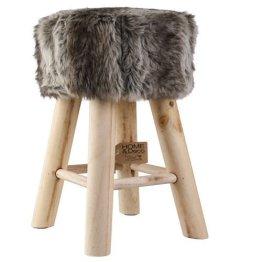Fellhocker Hocker Sitzhocker Shemel Fußhocker Holz Felloptik Stuhl Fell NEU -