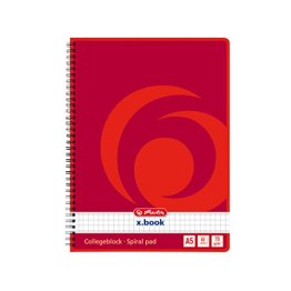 Herlitz 297531 Notizblock mit Seitenspirale, 70 g/qm, A5, kariert, 80 Blatt 4er Packung -