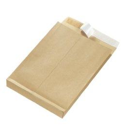 Herlitz 797506 Faltentasche B4 braun, 130 g/qm, 25 Stück eingeschweißt mit Haftklebung -