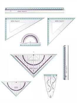 Herlitz Zeichengarnitur 8tlg / Dreiecke, Lineale, Winkelmesser, Parabel / türkis -