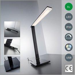 LED Schreibtischlampe USB Ladeanschluss dimmbar in 7 Helligkeitsstufen und 5 Farbtemperaturen (Kaltweiß bis warmweiß) Touch Control LED Tischleuchte LED Tischlampe Leselampe Nachttischlampe schwarz LED Schreibtischleuchte Nachttischleuchte LED Leseleuchte -