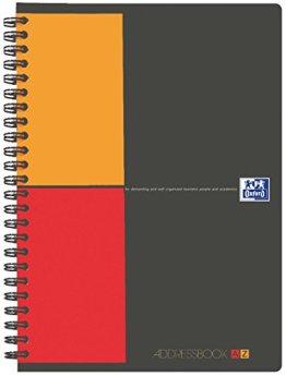 Oxford 100103165 International Addressbook, A5, 2-farbige Sonderlineatur, 72 Blatt, 80 g/m², mit Doppelspirale und Kunststoff-Deckel -