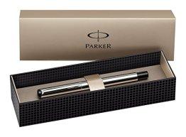 Parker S0723480 Vector Füllfederhalter (edelstahl mit edelstahleinfassung, mittlere Schreibfeder, Geschenkbox) -