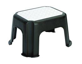 Rotho Trittschemel Paso, Tritthocker aus Kunststoff mit Metallveredelung, mit Anti-Rutsch-Noppen, bis 150 kg, GS-geprüft, schwarz, ca. 43 x 36 x 24 cm (LxBxH) -