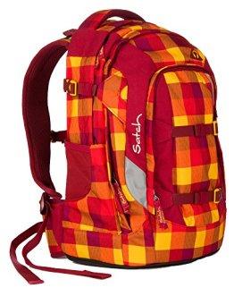 Satch Schulrucksack Pack Firecracker 9A8 rot gelb kariert -