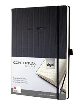 Sigel CO111 Notizbuch ca. A4, kariert, Hardcover, schwarz, CONCEPTUM -