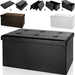 Sitzbank schwarz 80x40x40cm- Sitzhocker Ottomane Aufbewahrungsbox Bank Hocker Sitzwürfel -