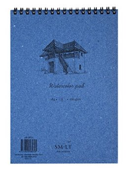 SM.LT AB-35TS Authentic line A4 Aquarellblock, natural weiß Papier, 280 gsm, 35 Seiten, blau -