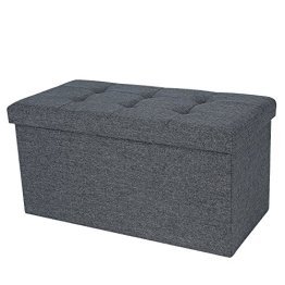 Songmics 76 x 38 x 38 cm Faltbarer Sitzhocker belastbar bis 300 kg Fußbank Sitzbank Aufbewahrungsbox leinen dunkelgrau LSF47K -